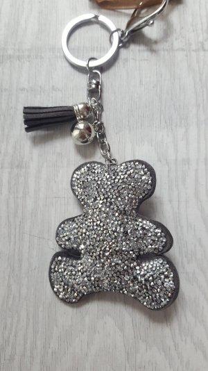 Schlüsselanhänger / Taschenanhänger glitzer BÄR, silber *NEU*