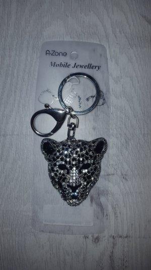 Schlüsselanhänger/ Taschenanhänger glitzer Leopard  silber *NEU*