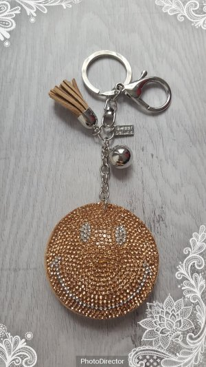Schlüsselanhänger/ Taschenanhänger glitzer Smile gold/silber *NEU*