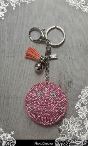 Schlüsselanhänger/ Taschenanhänger glitzer Smile  pink/silber *NEU*