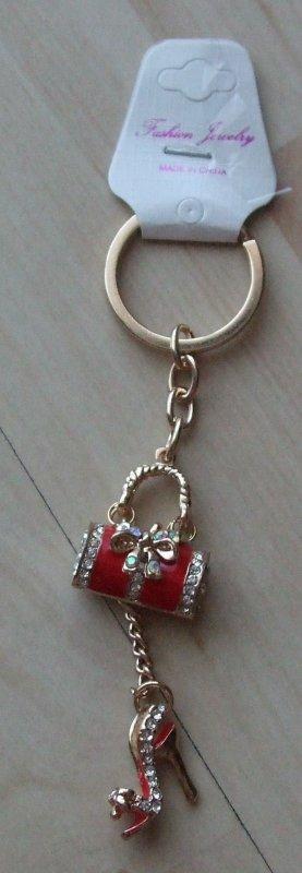 Porte-clés doré-rouge