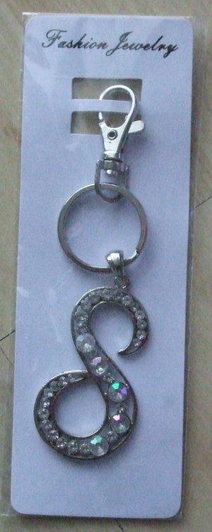 Porte-clés argenté-blanc