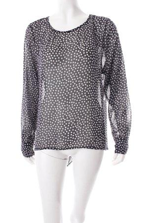 Schlupf-Bluse schwarz-weiß Punktemuster Transparenz-Optik