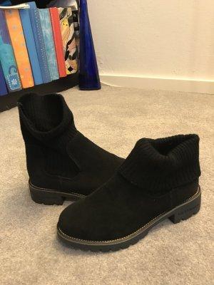 Schlupf Boots/Socken Boots schwarz Kunst-Wildleder Grösse 40 - ungefüttert, stabile Qualität - neu und ungetragen! Ideal für Winter und Herbst