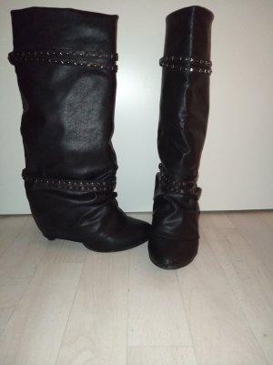 Schlupf Stiefel Stiefeletten 37 in Glattleder-Optik