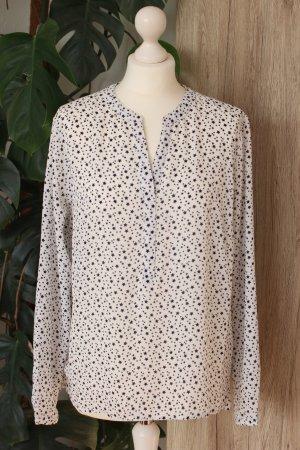 Schlupfbluse Sternchen-Muster Bluse Langarm Schwarz-Weiß 38-40