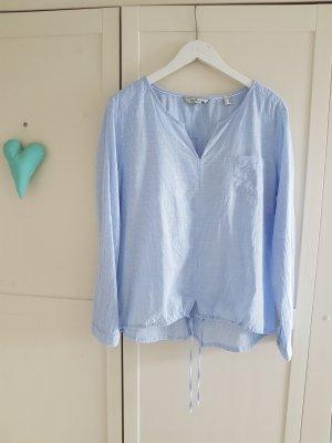 Schlupfbluse weiß/blau gestreift