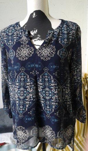Blusa larga azul oscuro-blanco