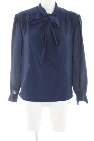 Tie-neck Blouse dark blue business style