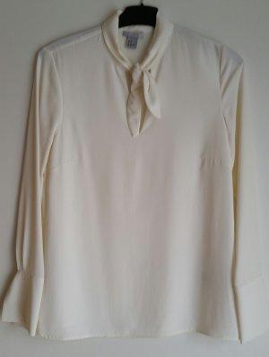 H&M Blusa collo a cravatta bianco sporco Poliestere