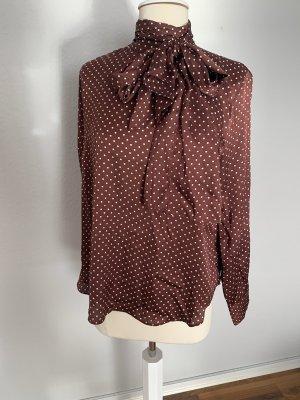 Zara Blusa collo a cravatta carminio-bianco