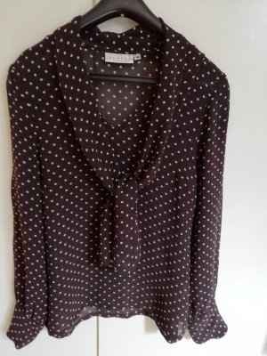 Hennes Collection by H&M Stropdasblouse donkerbruin-wolwit