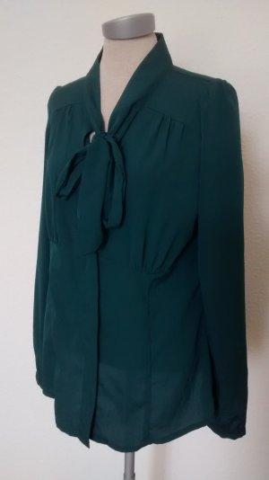 Schluppenbluse Bluse langarm grün Gr. 40 M L smaragd Blusentop Büro business
