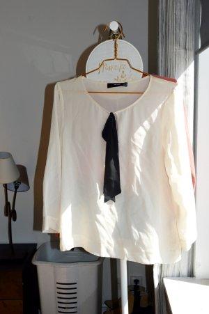 Schluppenbluse Bluse von Hallhuber schwarz-weiß in Größe 38