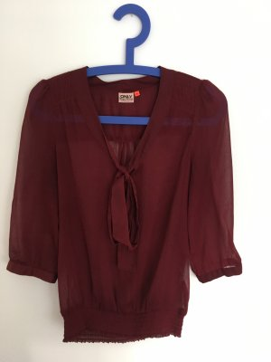Only Tie-neck Blouse bordeaux