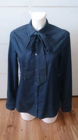 Benetton Blusa collo a cravatta blu scuro