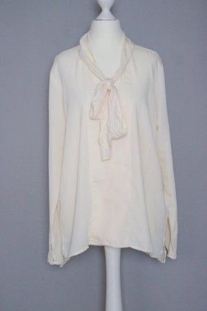 Schluppenbluse Gr. S weiß/beige Bluse mit Schleife