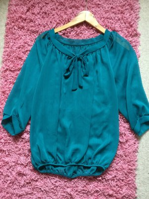 Blusa collo a cravatta blu cadetto
