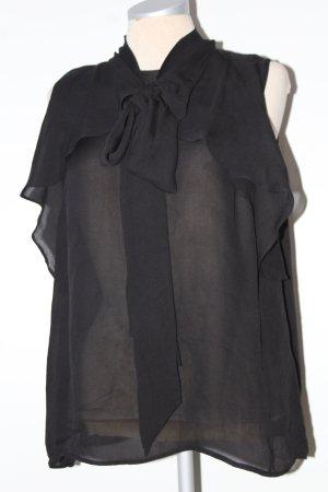 Schluppenbluse Top schwarz transparent Laura Clement Gr. 42 L XL