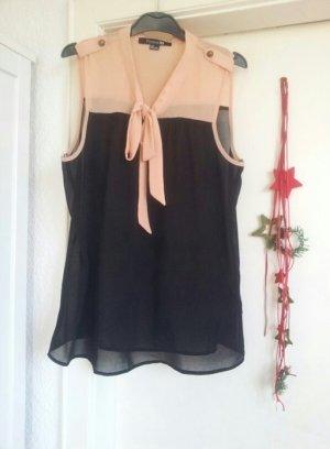 Schluppenbluse transparent schwarz nude knöpfe
