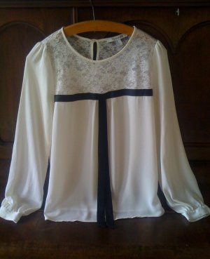 Forever 21 Tie-neck Blouse white-black