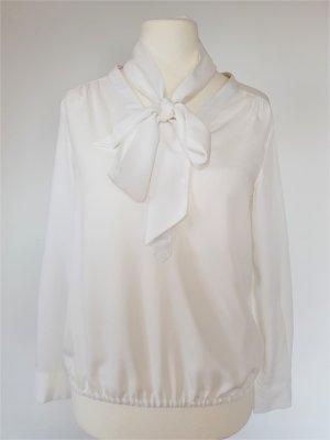 More & More Blusa collo a cravatta bianco