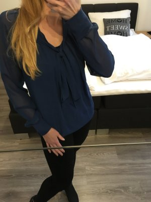 Only Blusa collo a cravatta blu scuro