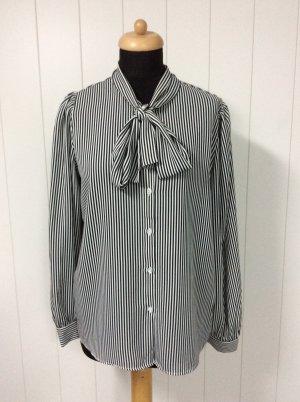 Tie-neck Blouse white-black polyester