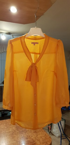 Review Tie-neck Blouse yellow polyester