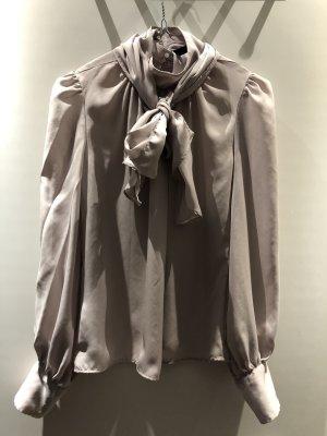 Zara Basic Tie-neck Blouse light grey-silver-colored