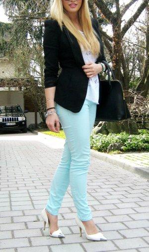 schmale türkise Jeans