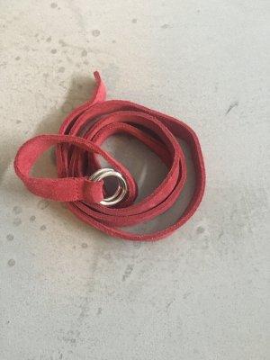 H&M Cinturón de cuero color plata-rojo ladrillo Gamuza