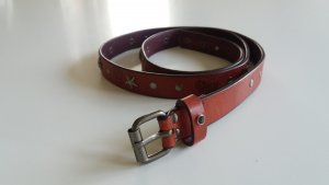 Leather Belt silver-colored-carmine leather