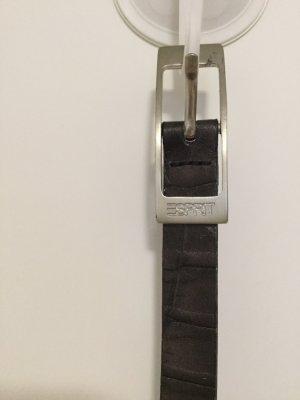 Schmaler Ledergürtel von Esprit 99in Schokoladen-Braun Reptil-Optik