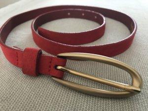 schmaler roter Leder Gürtel Ledergürtel Pepe Jeans ROT Retro Vintage Style super schön Gr. 80