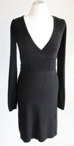 Schmales Strickkleid Kleid edc Esprit Größe S 36 Schwarz V-Neck tiefer V Ausschnitt Viskose Langarm Rüschen Minikleid