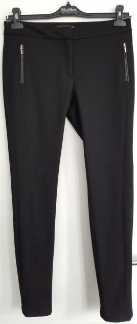 Schmalle Stoffhose mit Stretch von Esprit Collection, Seitentaschen mit Zip und Leder-Applikation, Gr. 36