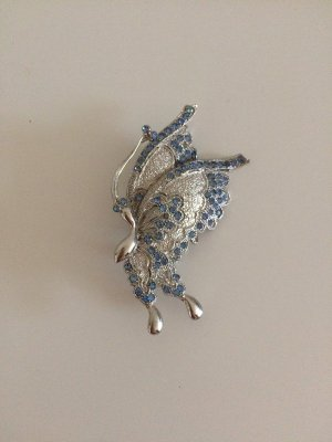 Brooch silver-colored-azure