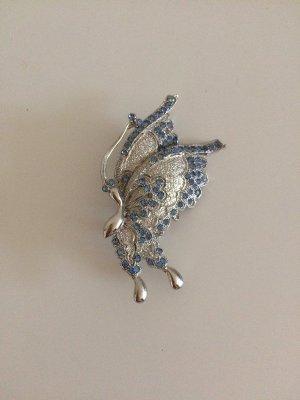 Schmetterling Brosche neu Silber Blau