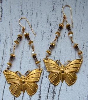 Schmetterlingsohrringe - Smokey Quartz - Süßwasserperlen Ohrringe