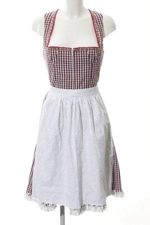 schmitt und schäfer Dirndl blanc-bordeau motif à carreaux style campagnard