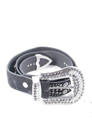 schmuck-art Studded riem zwart-zilver glitter-achtig