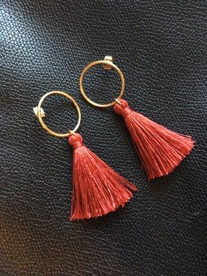 Boucles d'oreilles en perles rouge foncé-doré
