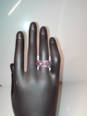 Schmuck-Ring,in Metall Optik,in Silber Farbe,mir Bund- deko-steinen verziert