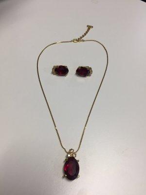 Schmuck-Set Christian Dior mit roten Steinen - Kette und Ohrclips