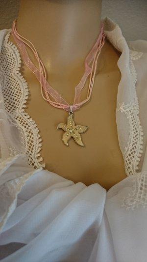Schmuck Set - Collier Halskette und Ohrringe rosa Stern mit Strass