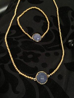 Schmuck Set - Halskette - Armband - NEU - gold/blau