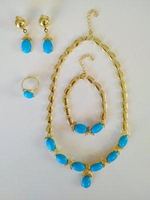 Schmuck Set in gold/blau Halskette mit...