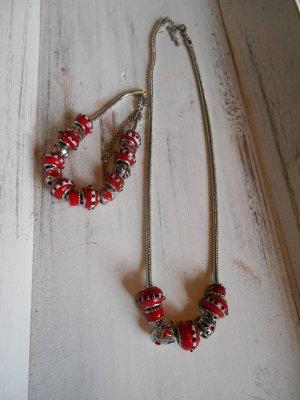 Necklace dark red-silver-colored