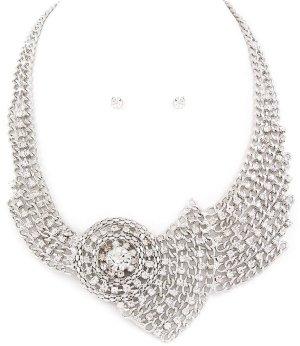 Schmuckanthony Designer Luxus Abendschmuck Cocktail Schmuck Silber Schmuckset Set Ohrringe Ketten Maschen Kristall Klar Transparent